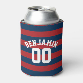 Navy Blue and Red Rugby Stripes Name Number Can Cooler