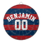 Navy Blue and Red Rugby Stripes Name Number Dartboard