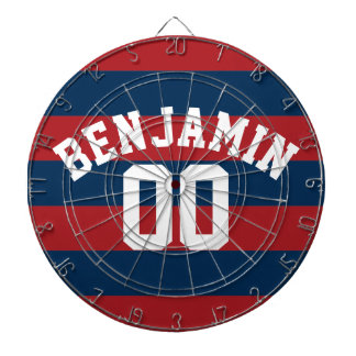 Navy Blue and Red Rugby Stripes Name Number Dartboard With Darts