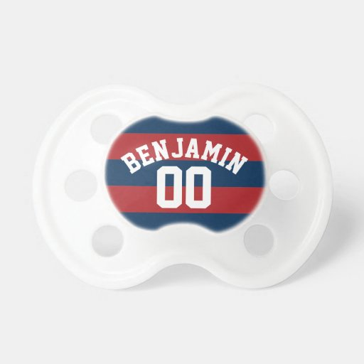 Navy Blue and Red Rugby Stripes Name Number Pacifiers