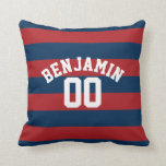 Navy Blue and Red Rugby Stripes Name Number Pillows