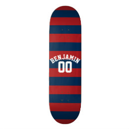 Navy Blue and Red Rugby Stripes Name Number Skateboard