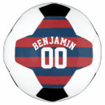 Navy Blue and Red Rugby Stripes Name Number Soccer Ball