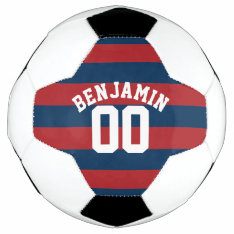 Navy Blue and Red Rugby Stripes Name Number Soccer Ball at Zazzle