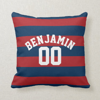 Navy Blue and Red Rugby Stripes Name Number Throw Pillow