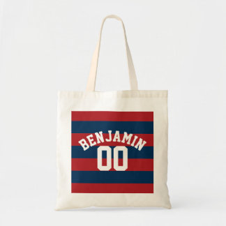 Navy Blue and Red Rugby Stripes Name Number Tote Bag
