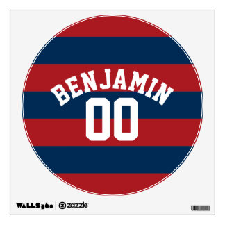 Navy Blue and Red Rugby Stripes Name Number Wall Sticker
