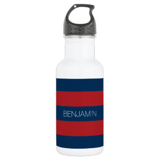 Navy Blue and Red Rugby Stripes with Custom Name 18oz Water Bottle