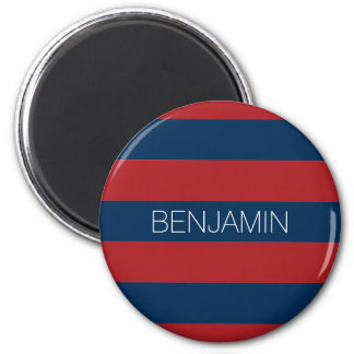 Navy Blue and Red Rugby Stripes with Custom Name 2 Inch Round Magnet