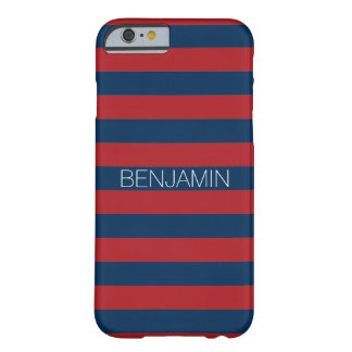 Navy Blue and Red Rugby Stripes with Custom Name Barely There iPhone 6 Case