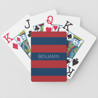 Navy Blue and Red Rugby Stripes with Custom Name Bicycle Playing Cards