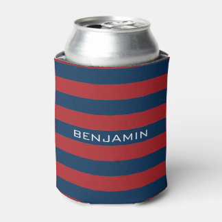 Navy Blue and Red Rugby Stripes with Custom Name Can Cooler