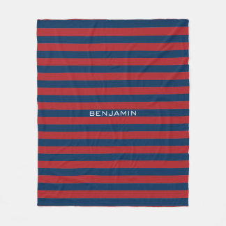Navy Blue and Red Rugby Stripes with Custom Name Fleece Blanket