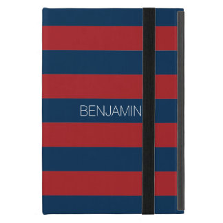 Navy Blue and Red Rugby Stripes with Custom Name iPad Mini Case