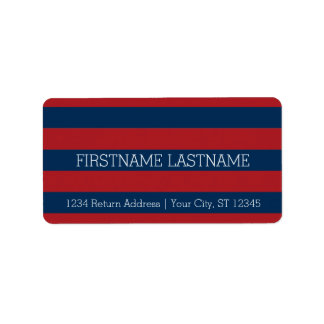 Navy Blue and Red Rugby Stripes with Custom Name Label