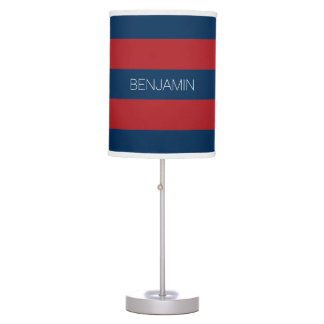 Navy Blue and Red Rugby Stripes with Custom Name Table Lamp