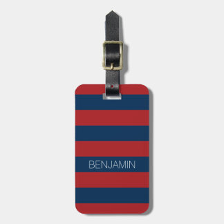 Navy Blue and Red Rugby Stripes with Custom Name Luggage Tag