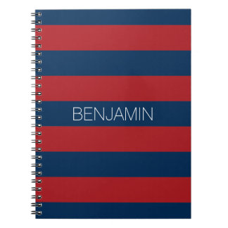 Navy Blue and Red Rugby Stripes with Custom Name Notebook