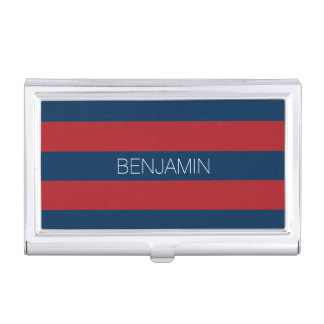 Navy Blue and Red Rugby Stripes with Custom Name Business Card Cases