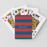 "Navy Blue and Red Rugby Stripes with Custom Name Playing Cards<br><div class=""desc"">Dark Blues and a traditional red -- A manly pattern for the guys and boys in your family. A bold and modern design with an area for customized text. If you need to adjust the artwork or change the font, you can click on the customize area. This will take you...</div>"
