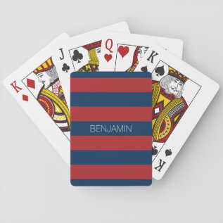 Navy Blue and Red Rugby Stripes with Custom Name Playing Cards at Zazzle