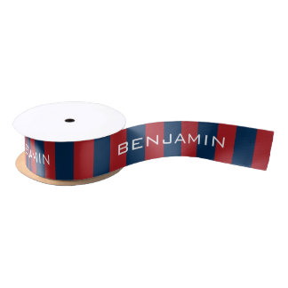Navy Blue and Red Rugby Stripes with Custom Name Satin Ribbon