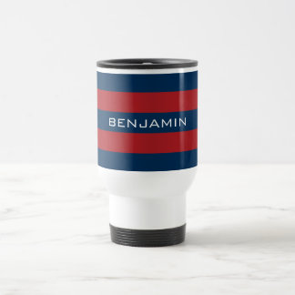 Navy Blue and Red Rugby Stripes with Custom Name Travel Mug