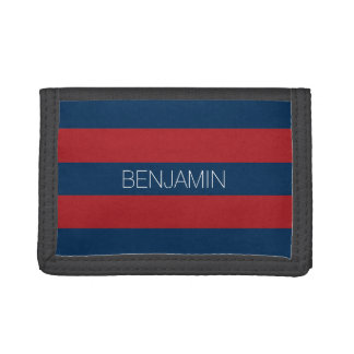 Navy Blue and Red Rugby Stripes with Custom Name Tri-fold Wallet