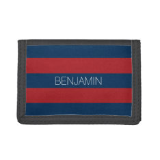 Navy Blue And Red Rugby Stripes With Custom Name Trifold Wallets at Zazzle