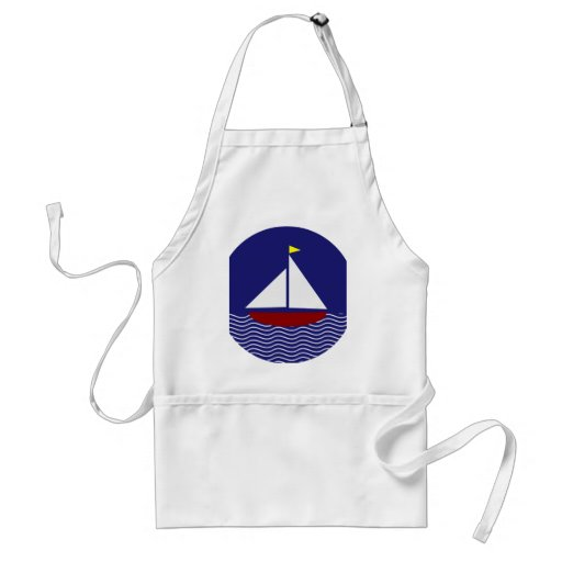 Navy Blue and Red Sailboat Design Adult Apron