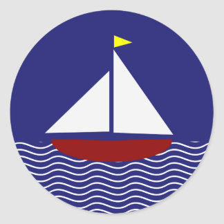 Navy Blue and Red Sailboat Design Classic Round Sticker