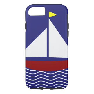 Navy Blue and Red Sailboat Design iPhone 7 Case