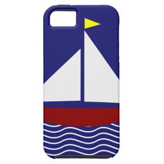 Navy Blue and Red Sailboat Design iPhone SE/5/5s Case