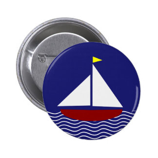 Navy Blue and Red Sailboat Design Pinback Button