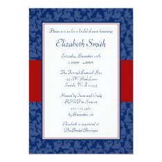 Navy Blue and Red Swirl Damask Bridal Shower Card at Zazzle