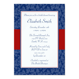 Navy Blue and Red Swirl Damask Bridal Shower Card