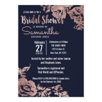 Navy Blue and Rose Gold Floral Bridal Shower Card