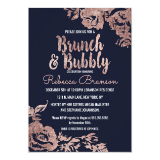 Navy Blue and Rose Gold Floral Brunch and Bubbly Card
