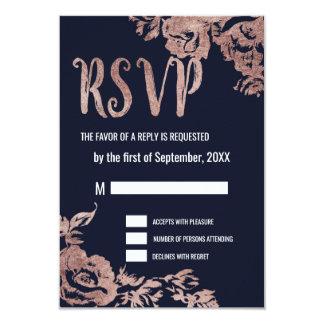 Navy Blue and Rose Gold Floral RSVP Cards