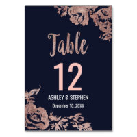 Navy Blue and Rose Gold Floral Table Numbers
