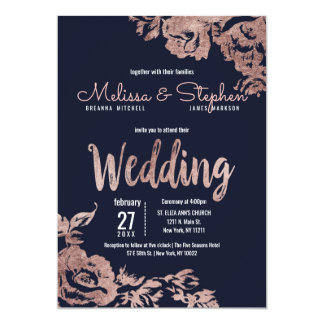 Navy Blue and Rose Gold Floral Wedding Card