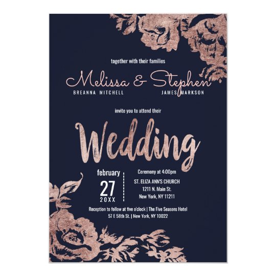 Navy Blue And Gold Wedding Invitations: Navy Blue And Rose Gold Floral Wedding Invitation