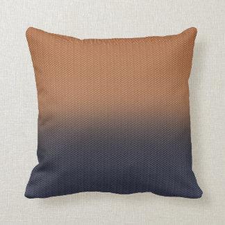 Navy Blue and Rust Brown Digital Herringbone Throw Pillow