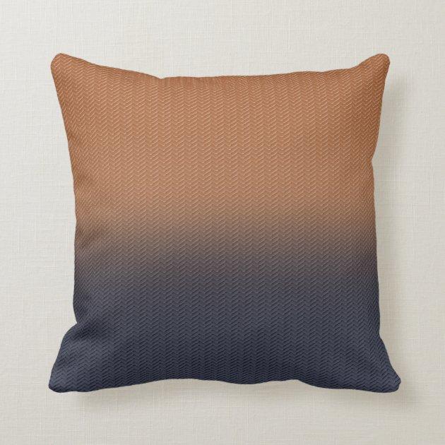 Navy Blue And Rust Brown Digital Herringbone Throw Pillow Zazzle Com