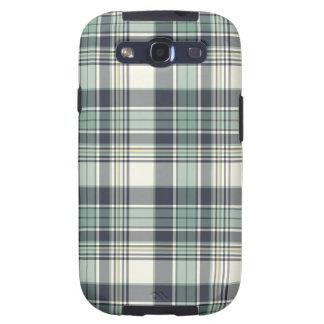 Navy Blue and Seafoam Coastal Plaid Galaxy S3 Case