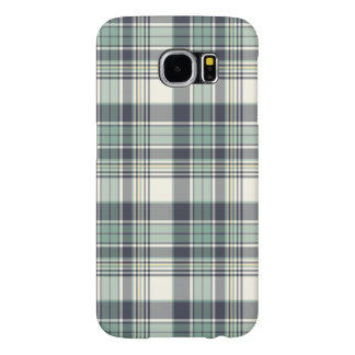 Navy Blue and Seafoam Coastal Plaid Samsung Galaxy S6 Case