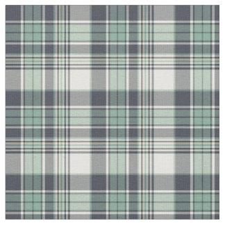 Navy Blue and Seafoam Green Coastal Plaid Fabric