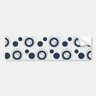 Navy Blue and Silver Concentric Circles Polka Dots Bumper Stickers