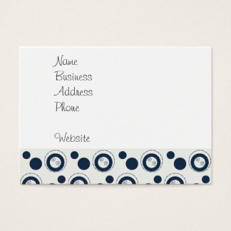 Navy Blue and Silver Concentric Circles Polka Dots Business Card