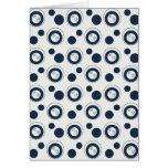 Navy Blue and Silver Concentric Circles Polka Dots Greeting Card